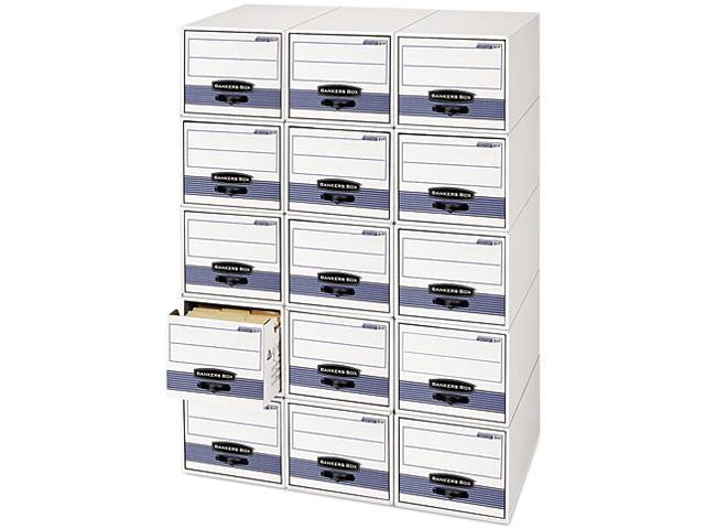 Bankers Box 00306 Stor/Drawer Steel Plus Storage Box, Wire, 5 x 8, White/Blue, 12/Ctn