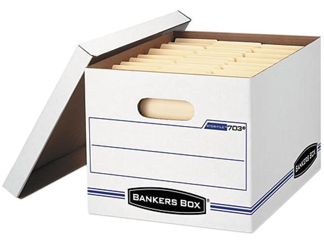 Bankers Box 0070308 Stor/File Storage Box, Letter/Legal, Lift-off Lid, White/Blue, 4/Carton