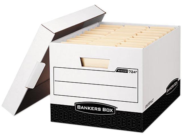 Bankers Box 00724 - R-Kive Max Storage Box, Legal/Letter, Locking Lid, White/Black, 12/Carton