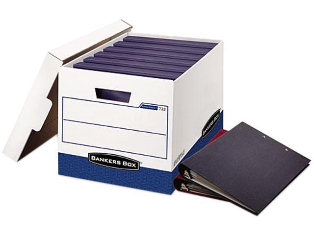 Bankers Box 0073301 BINDERBOX Storage Box, Locking Lid, White/Blue, 12/Carton