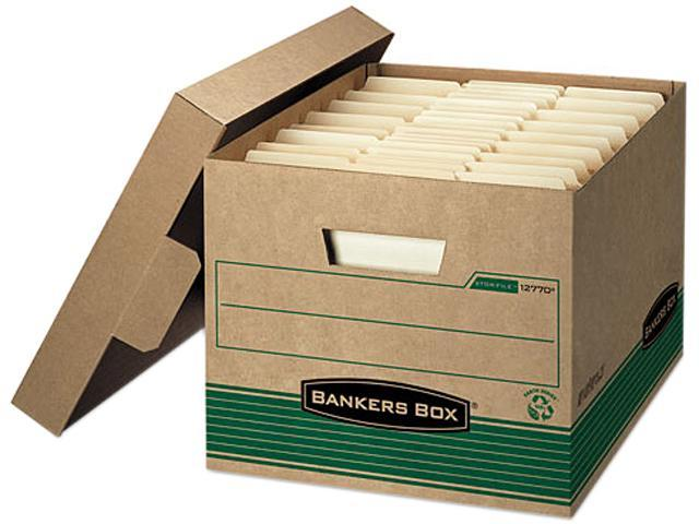 Bankers Box 12770 Stor/File Extra Strength Storage Box, Letter/Legal, Kraft/Green, 12/Carton