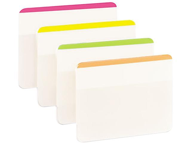 Post-it 686F-1BB Durable File Tabs, 2 x 1 1/2, Striped, Assorted Fluorescent Colors, 24/Pack