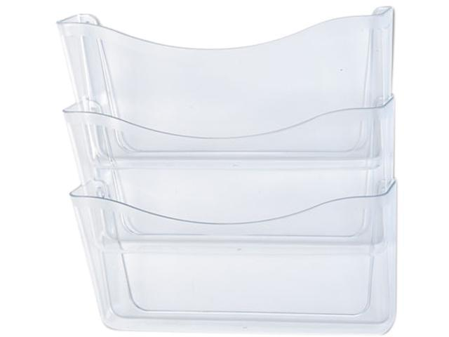 Rubbermaid 65976ROS Unbreakable Three Pocket Wall File Set, Letter, Clear