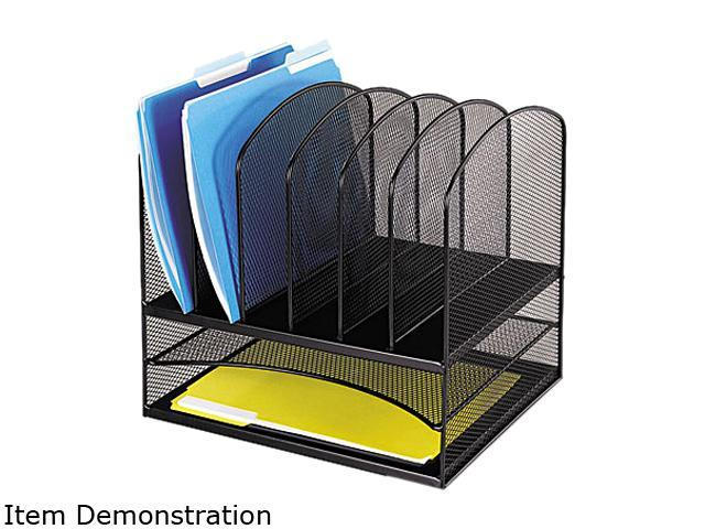 Safco 3255BL Mesh Desk Organizer, Eight Sections, Steel, 13 1/2 x 11 3/8 x 13, Black