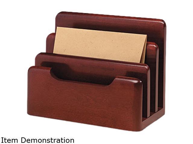 Rolodex 23420 Wood Tones Desktop Sorter, Three Sections, Wood, Mahogany