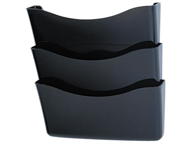 Rubbermaid 65974ROS Unbreakable Three Pocket Wall File Set, Letter, Smoke