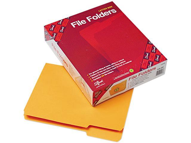 Smead 12243 File Folders, 1/3 Cut Top Tab, Letter, Goldenrod, 100/Box