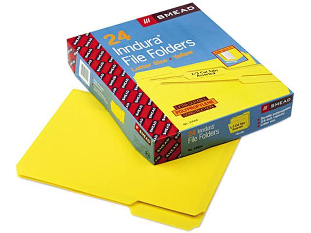 Smead 10504 Waterproof Poly File Folders, 1/3 Cut Top Tab, Letter, Yellow, 24/Box