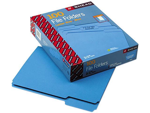 Smead 12043 File Folders, 1/3 Cut Top Tab, Letter, Blue, 100/Box