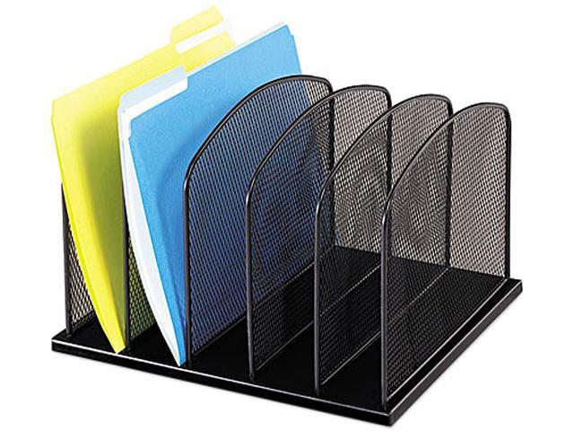 Safco 3256BL Mesh Desk Organizer, Five Sections, Steel, 12 1/2 x 11 1/4 x 8 1/4, Black