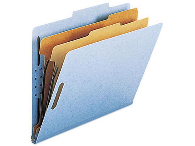 Smead 14030 Pressboard Classification Folders, Letter, Six-Section, Blue, 10/Box