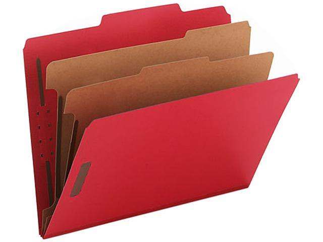 Smead 14031 Pressboard Classification Folders, Letter, Six-Section, Bright Red, 10/Box