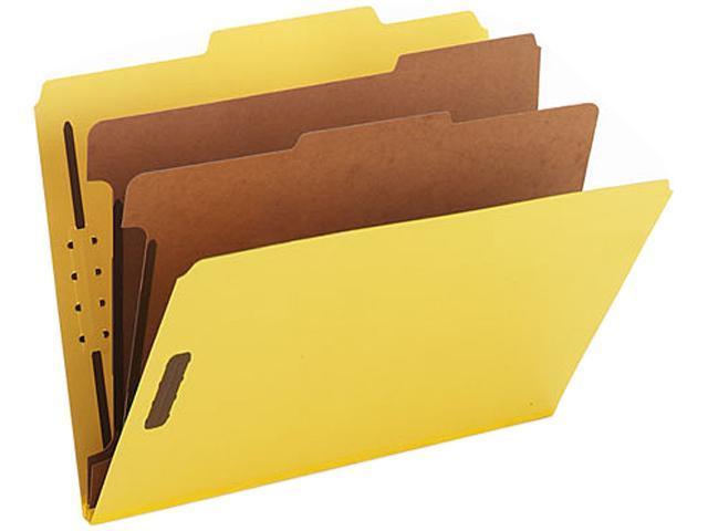 Smead 14034 Pressboard Classification Folders, Letter, Six-Section, Yellow, 10/Box