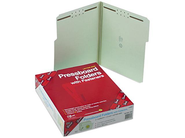 Smead 14934 Two Inch Expansion Fastener Folder, 1/3 Top Tab, Letter, Gray Green, 25/Box