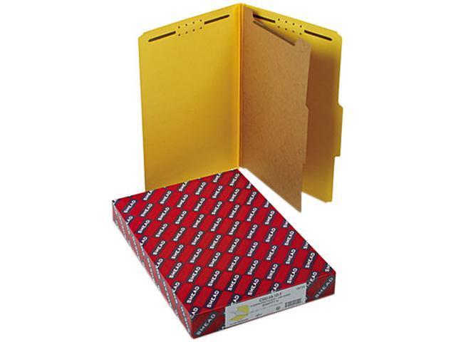Smead 18734 Pressboard Classification Folders, Legal, Four-Section, Yellow, 10/Box