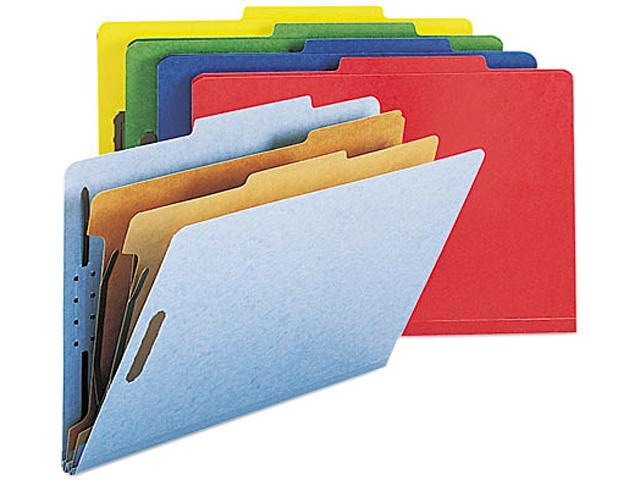 Smead 19025 Pressboard Classification Folders, Legal, Six-Section, Assorted Colors, 10/Box