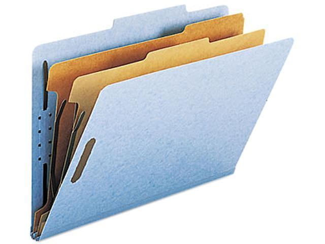 Smead 19030 Pressboard Classification Folders, Legal, Six-Section, Blue, 10/Box