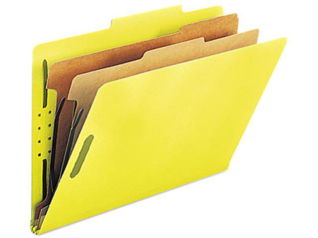Smead 19034 Pressboard Classification Folders, Legal, Six-Section, Yellow, 10/Box