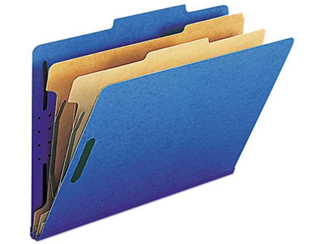Smead 19035 Pressboard Classification Folders, Legal, Six-Section, Dark Blue, 10/Box