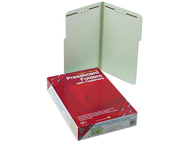 Smead 19934 Two Inch Expansion Fastener Folder, 1/3 Top Tab, Legal, Gray Green, 25/Box