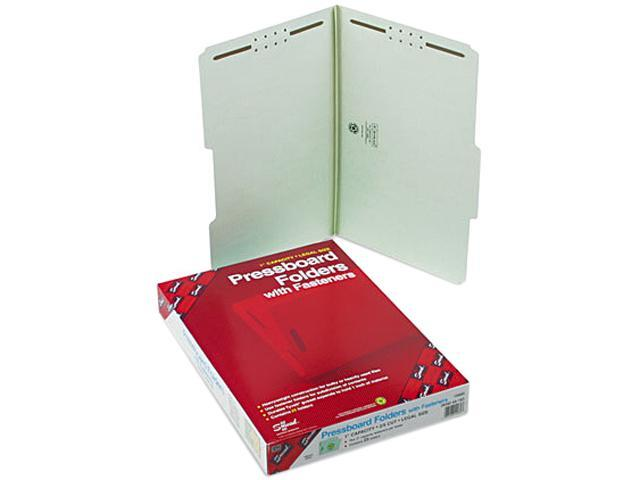 Smead 19980 One Inch Expansion Fastener Folder, 2/5 Top Tab, Legal, Gray Green, 25/Box