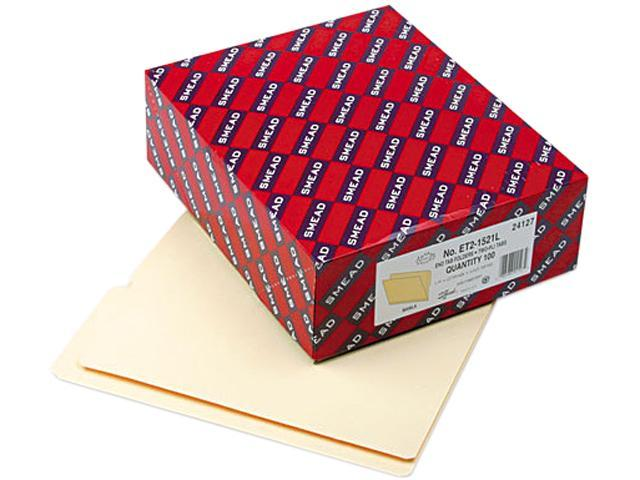 Smead 24127 Folders, 1/2 Cut Top, Reinforced End Tab, Letter, Manila, 100/Box