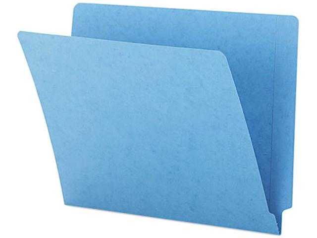 Smead 25010 Colored File Folders, Straight Cut, Reinforced End Tab, Letter, Blue, 100/Box