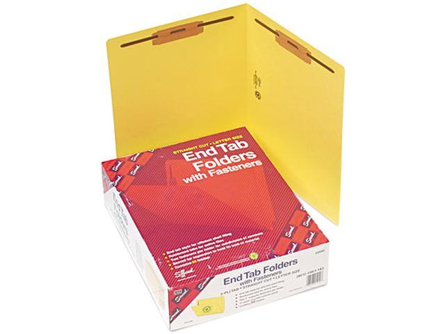 Smead 25940 Two-Inch Capacity Fastener Folders, Straight Tab, Letter, Yellow, 50/Box