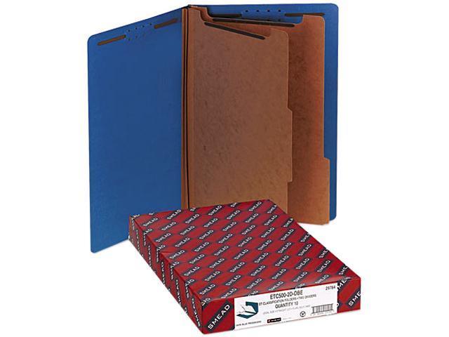 Smead 29784 Pressboard End Tab Classification Folders, Legal, Six-Section, Dark Blue, 10/Box
