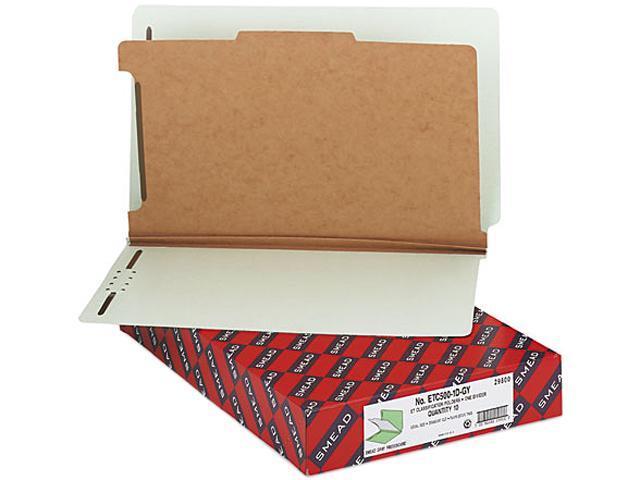 Smead 29800 Pressboard End Tab Classification Folder, Legal, 4-Section, Gray-Green, 10/Box