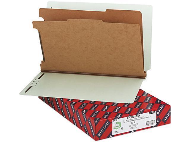 Smead 29810 Pressboard End Tab Classification Folder, Legal, Six-Section, Gray-Green, 10/Box