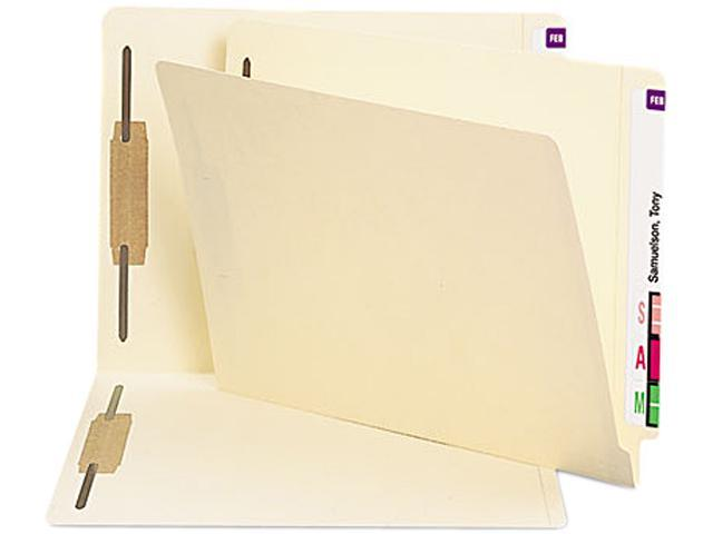 Smead 34116 Antimicrobial Two-Fastener End Tab Folder, Letter, 11 Point Manila, 50/Box