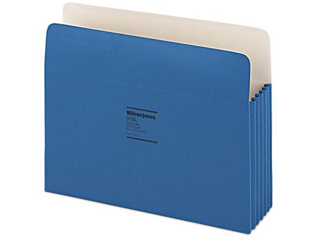 Wilson Jones 66BL ColorLife 5 1/4 Inch Expansion Pocket, Straight Tab, Letter, Dark Blue, 10/Box