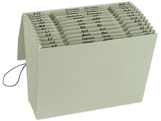 Smead 70778 100% Recycled Color Expanding Files, 12 Pockets, Letter, Green Tea