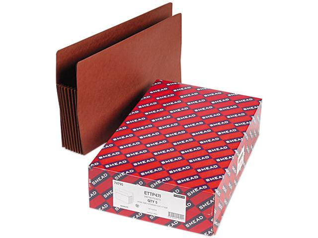 Smead 74795 Seven Inch Expansion File TUFF Pockets, Straight, Legal, Redrope, 5/Box