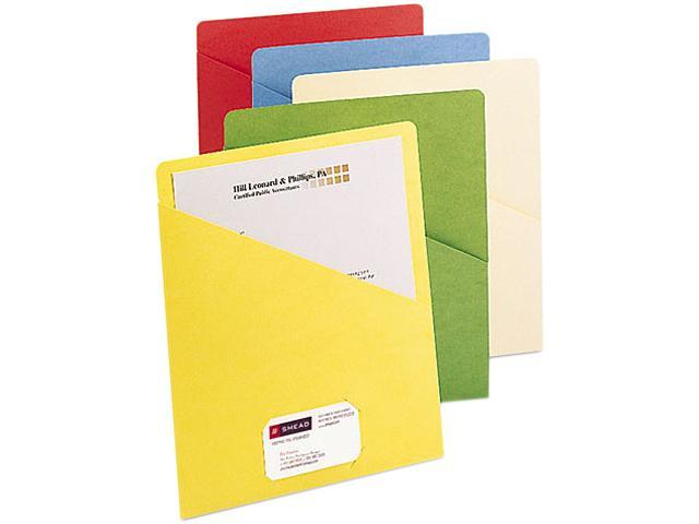Smead 75425 Slash Pocket Folders, Letter, 11 Point, Blue/Green/Manila/Red/Yellow, 25/Pack
