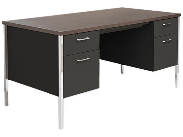 Double Pedestal Steel Desk, Metal Desk, 60w x 30d x 29-1/2h, Walnut/Black