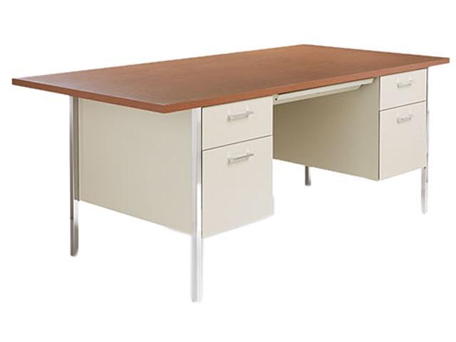 Double Pedestal Steel Desk, Metal Desk, 72w x 36d x 29-1/2h, Cherry/Putty