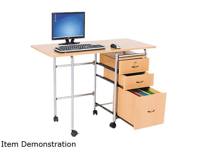 BALT 89904 Fold-N-Stow Workstation, 41-3/4w x 19-7/8d x 29-3/4h, Teak/Silver