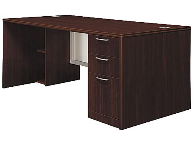 Attune Right Pedestal Desk, Frosted Modesty Panel, 72w x 36d x 29-1/2h, Mahogany