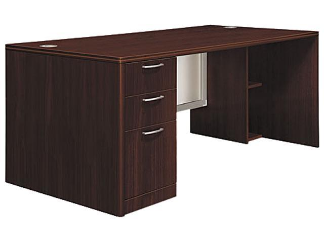 Attune Left Pedestal Desk, Frosted Modesty Panel, 72w x 36d x 29-1/2h, Mahogany