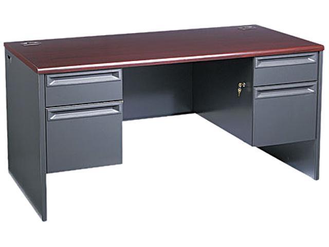 38000 Series Double Pedestal Desk, 60w x 30d x 29-1/2h, Mahogany/Charcoal