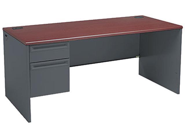 38000 Series Left Pedestal Desk, 66w x 30d x 29-1/2h, Mahogany/Charcoal