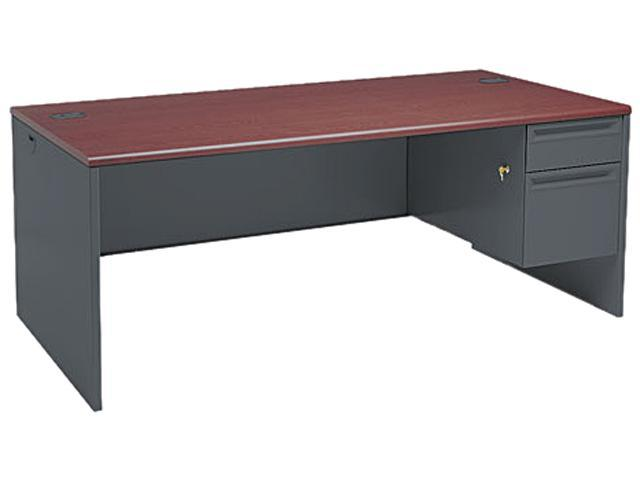 38000 Series Right Pedestal Desk, 72w x 36d x 29-1/2h, Mahogany/Charcoal