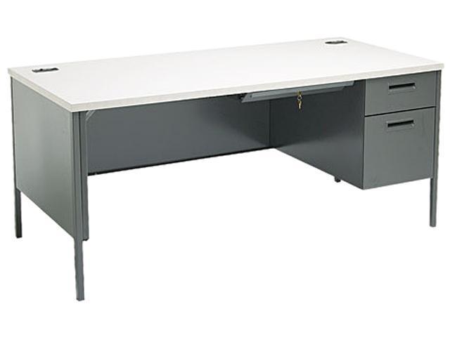Metro Classic Right Pedestal Workstation Desk, 66w x 30d, Gray Pattern/Charcoal