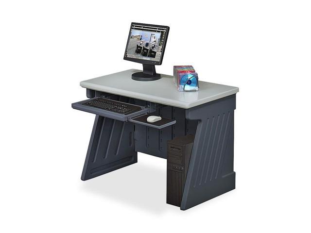 SnapEase 42 in. Computer Desk in Charcoal and Silver