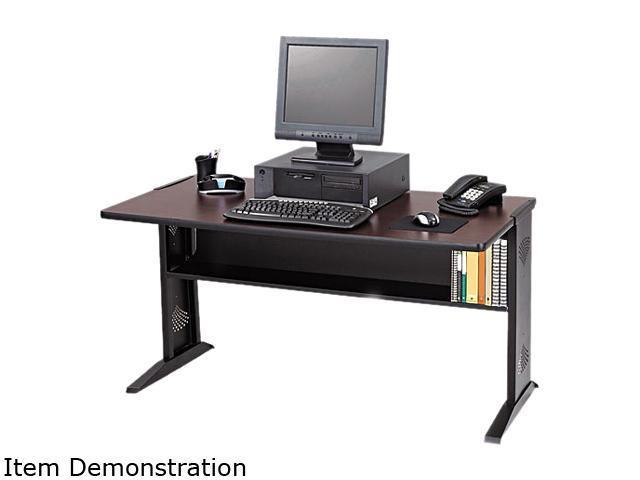 Computer Desk W/ Reversible Top, 48w x 28d x 30h, Mahogany/Medium Oak/Black