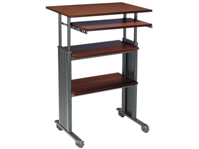 Safco 1929CY Adjustable Height Stand-Up Workstation, 29w x 22d x 49h, Cherry/Black