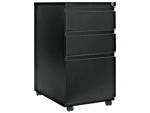 Alera PB53-2823BL (ALEPB532823BL) Three-Drawer Mobile Pedestal File With Full-Length Pull, 15-7/8w x 23d, Black