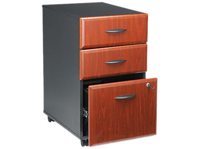 BUSH FURNITURE WC94453SU B/B/F Drawer Mobile Vertical File, 15-5/8w x 20-3/8d, Hansen Cherry/Galaxy